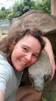 My best selfie. I love Big Al the Aldabran Tortoise. Right after this shot, I was sitting and keeping him company. He came and put his head on my shoulder. I needed that.