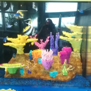A coral reef exhibit made out of Lego bricks. Except the fish. They are real.